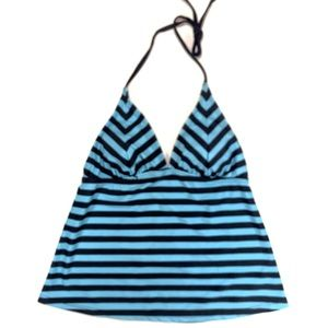 New Women's Mossimo Blue Stripe Tankini Top Small